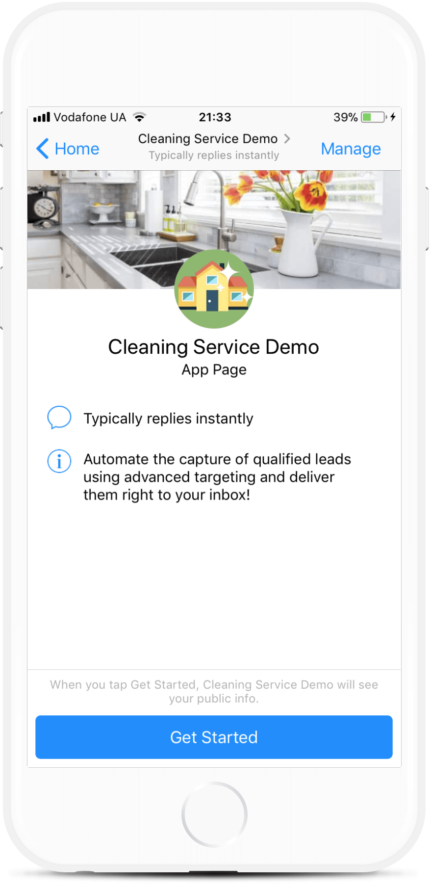 Messenger Chatbot for Cleaning Service