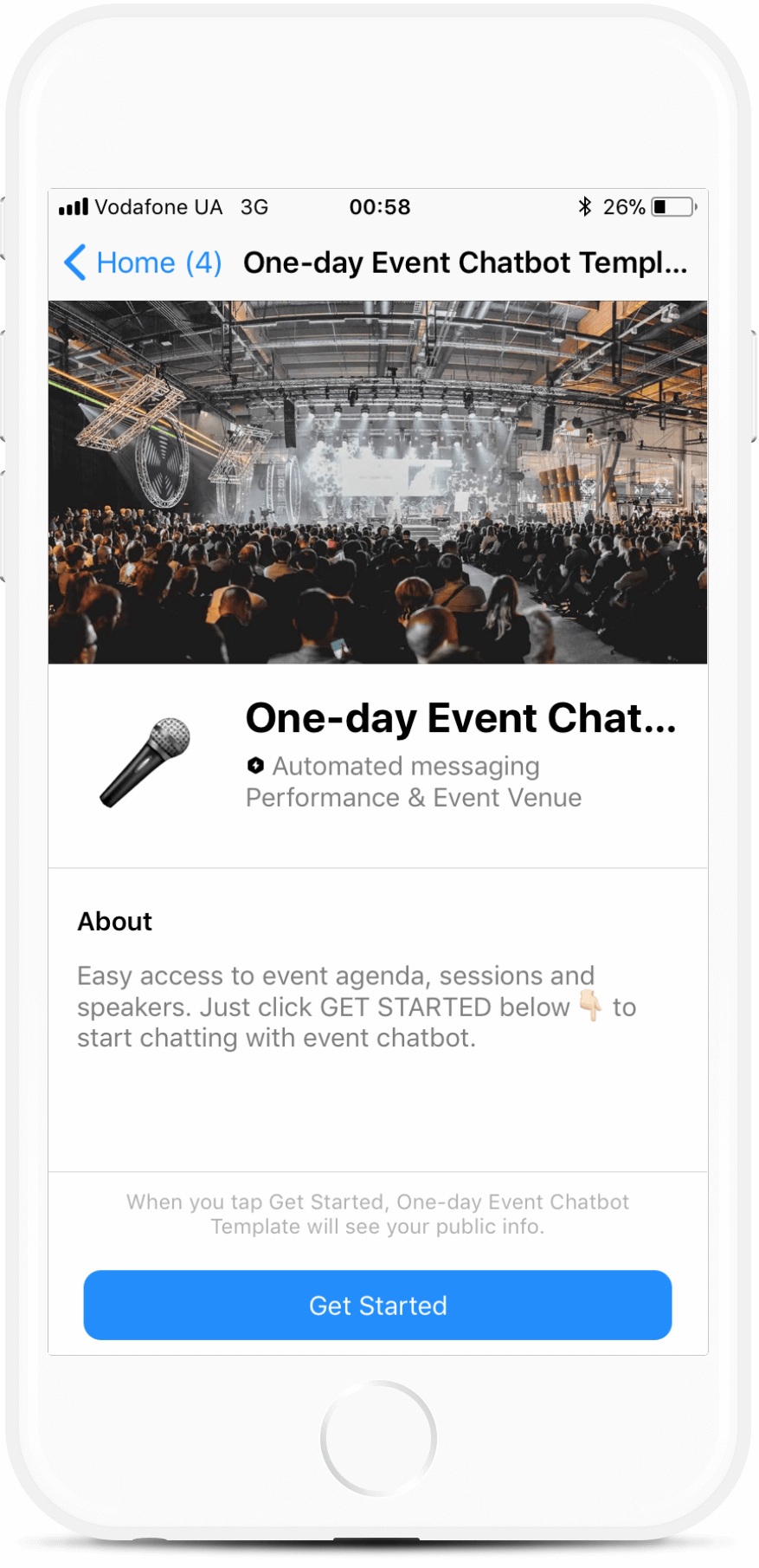 One-Day Conference Bot Template for Messenger