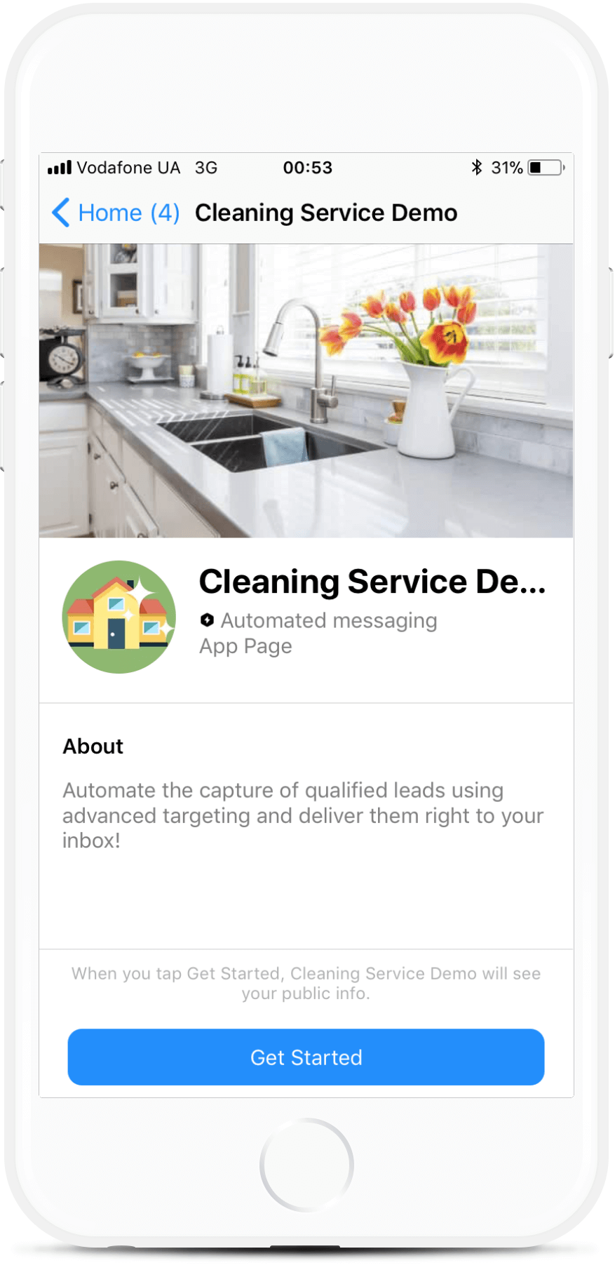 Messenger Chatbot Template for Cleaning Service