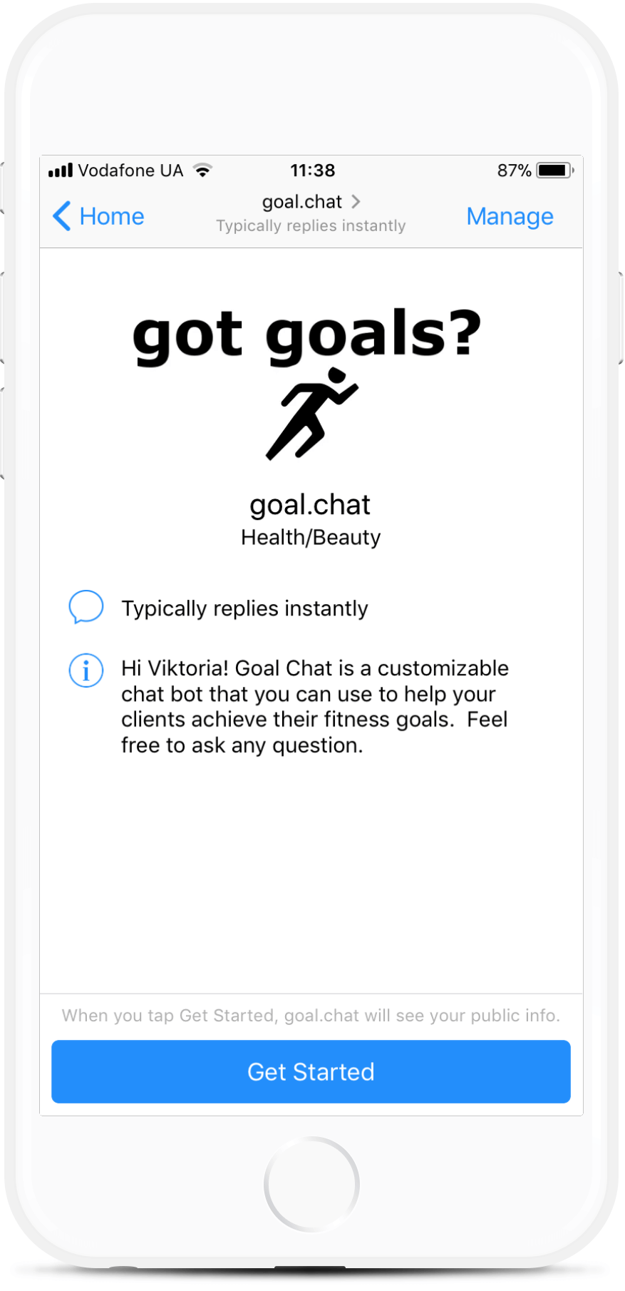Messenger Chatbot for Fitness Coaches