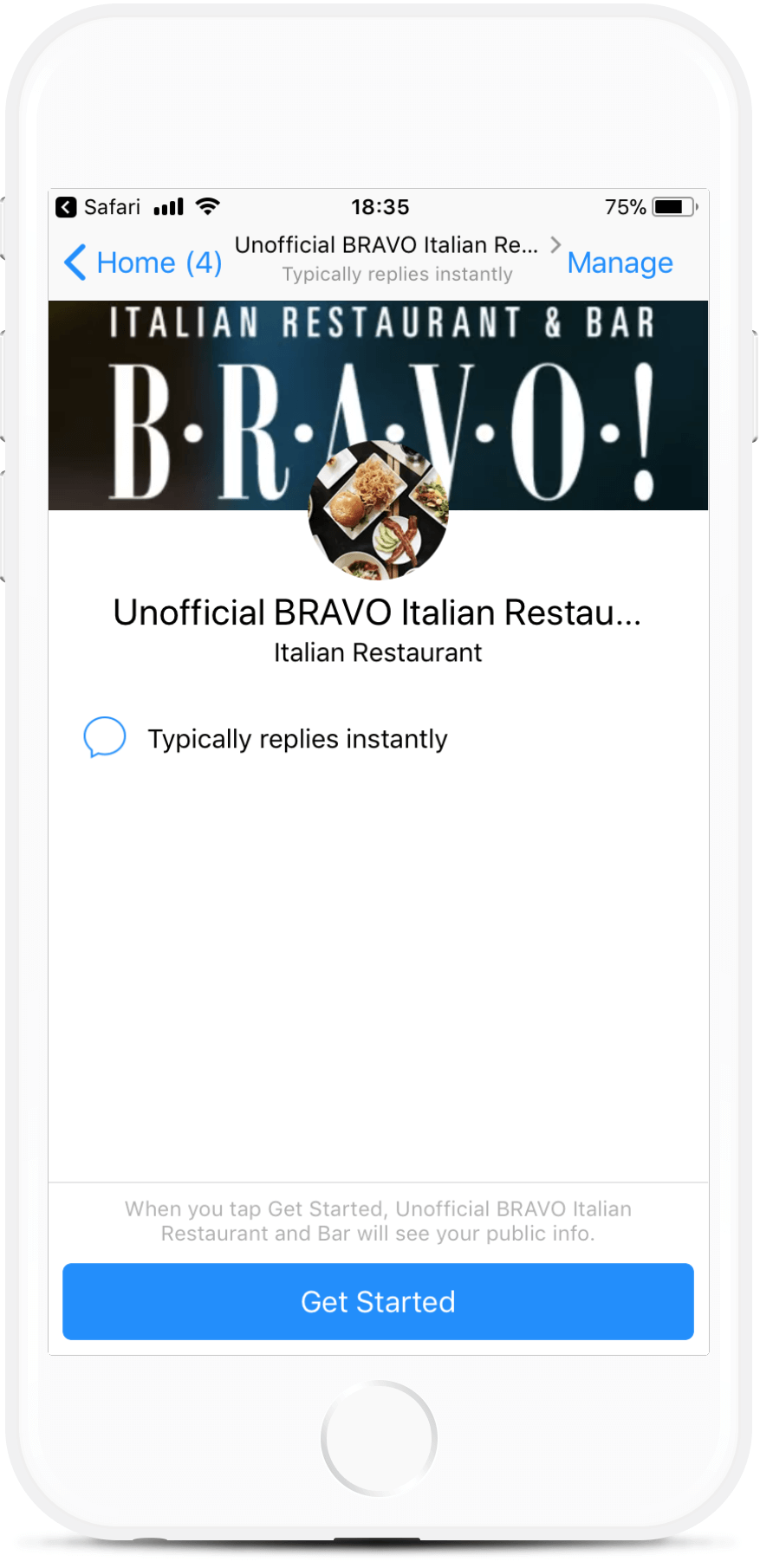 Restaurant and Catering Messenger Bot