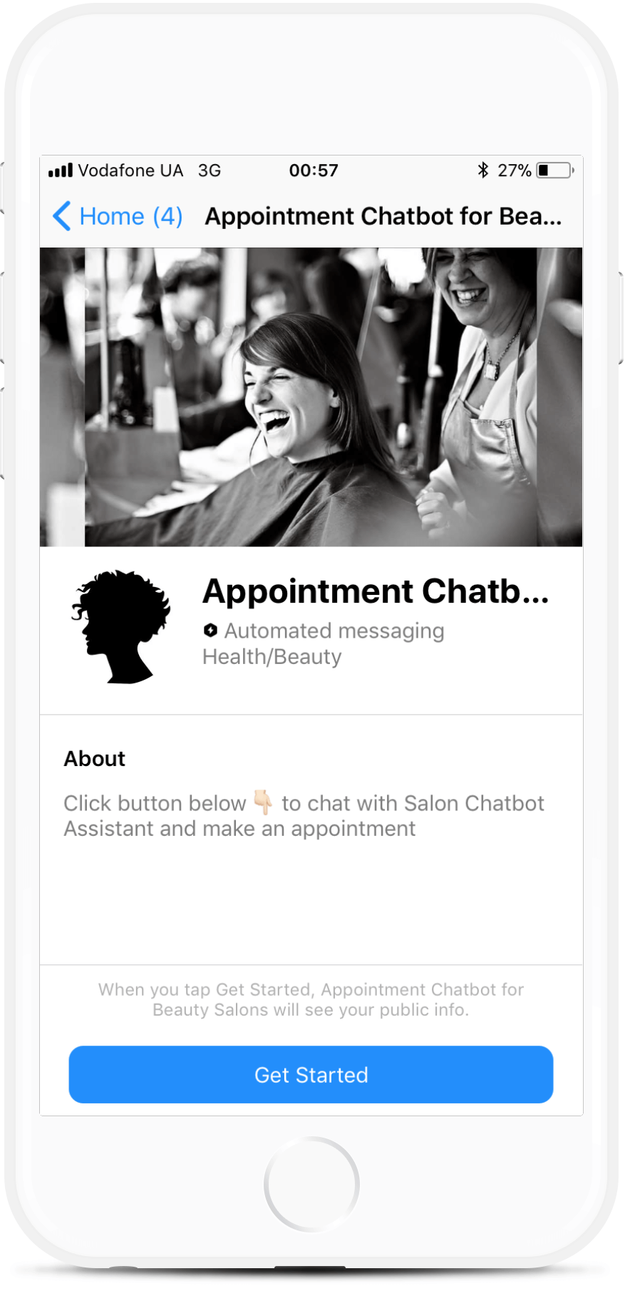 Appointment Chatbot for Hair Salon bot screenshot