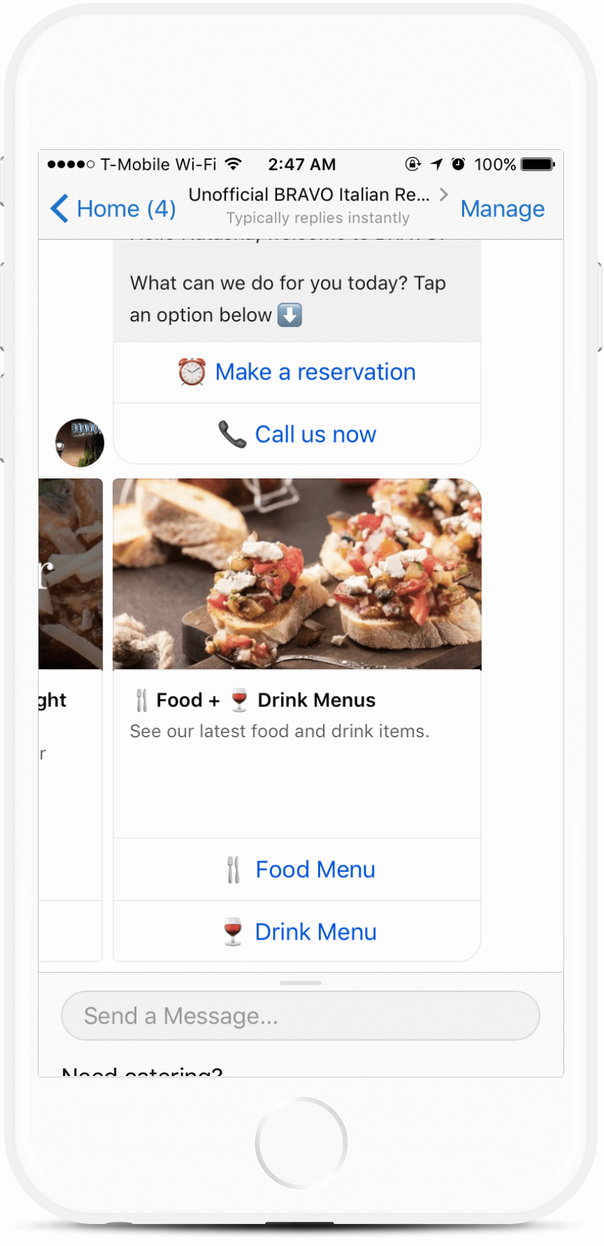 Restaurant and Catering Chatbot Template