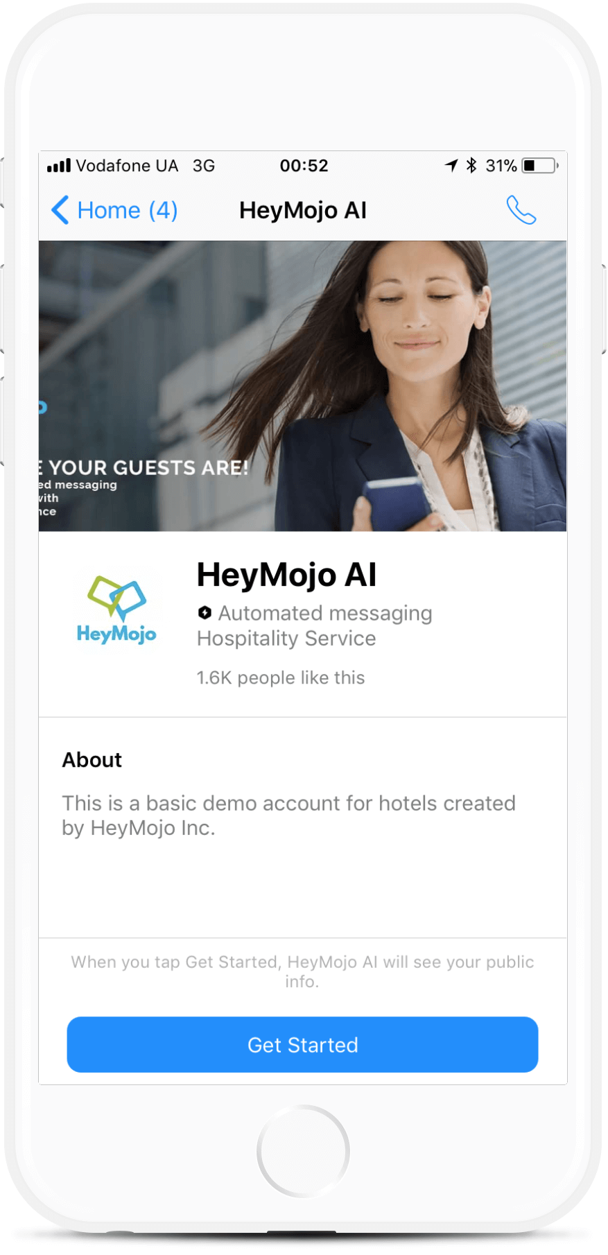 HeyMojo Hotel Chatbot - Booking, Reviews, FAQs. bot screenshot