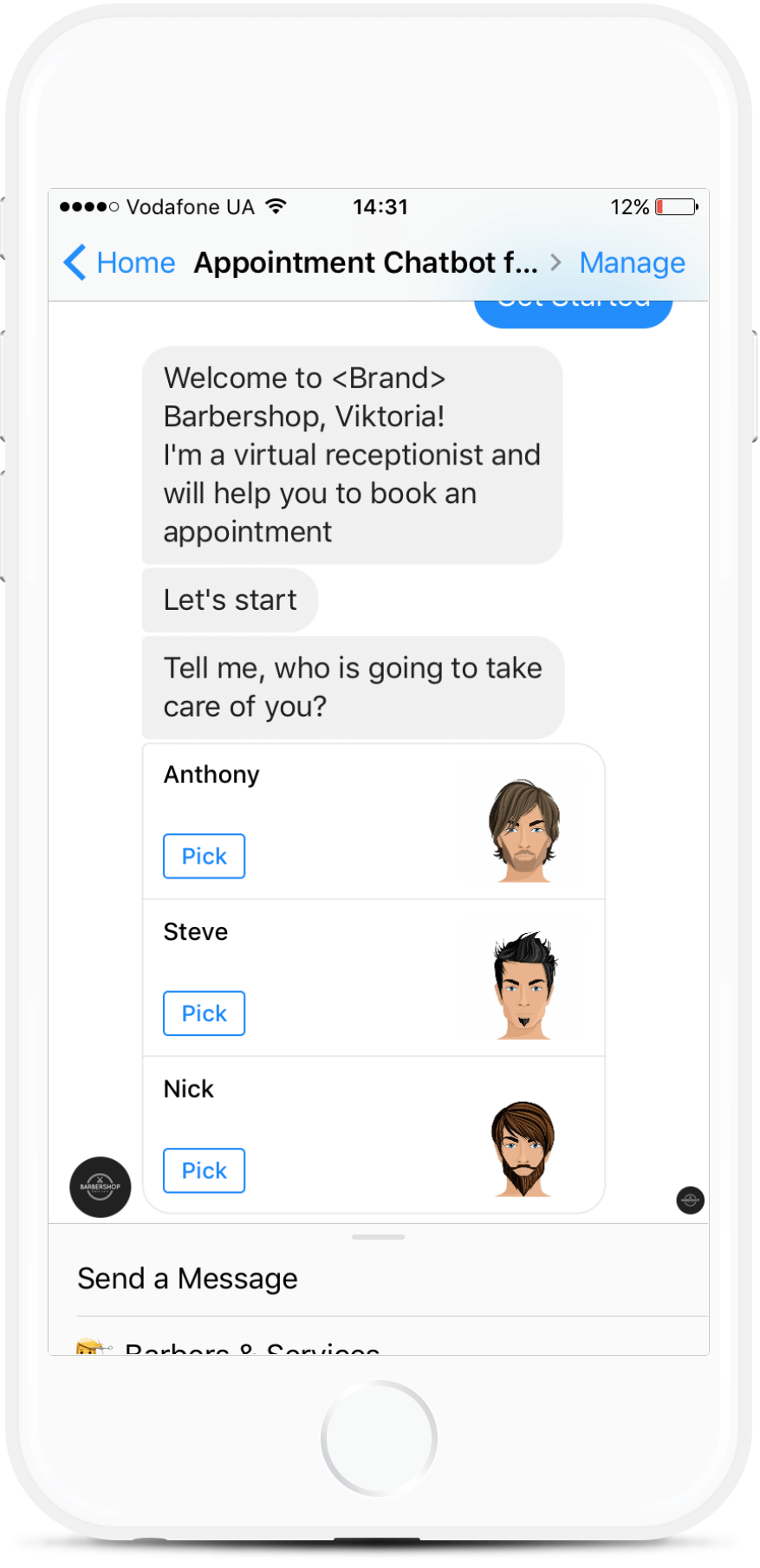 Appointment Chatbot Template for Barbershops for $59   #messenger #bottemplates #bots #chatbots #aibots #fbmessenger #botmakers