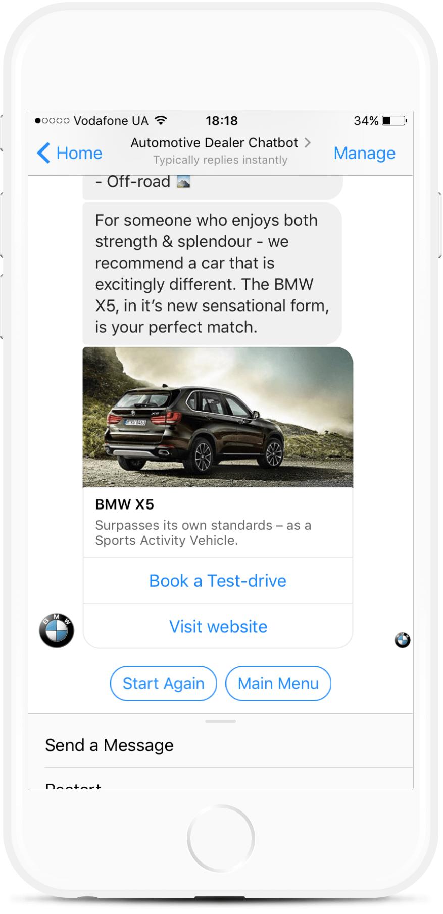 Test-Drive Messenger Chatbot For Car Dealers for $39   #messenger #bottemplates #bots #chatbots #aibots #fbmessenger #botmakers