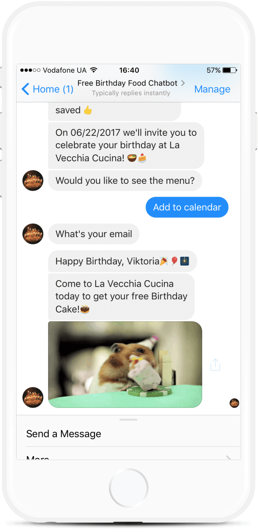 Free Birthday Cake Chatbot for Restaurants from $29/mo   #messenger #bottemplates #bots #chatbots #aibots #fbmessenger #botmakers