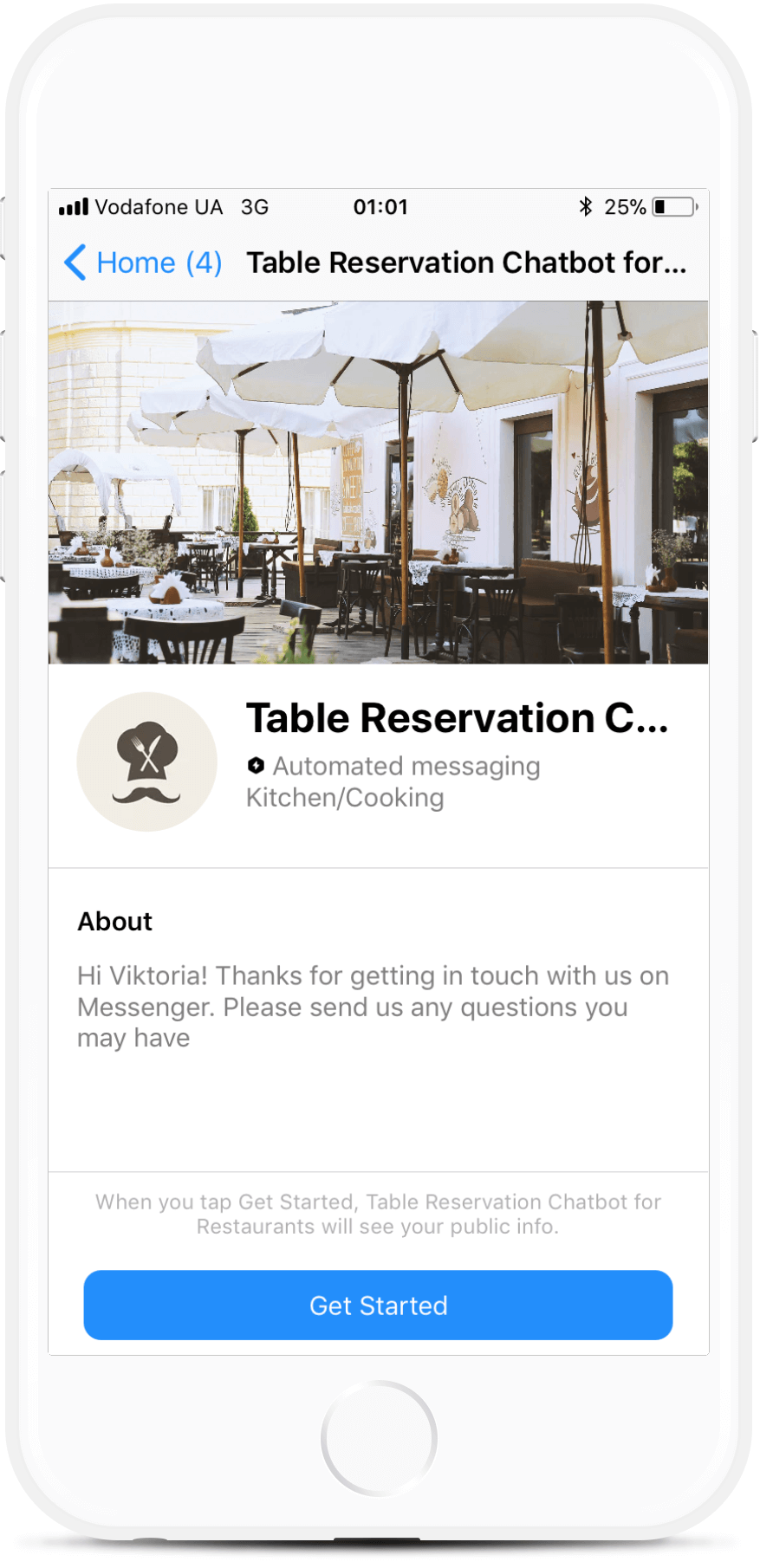 Restaurant Table Reservation Bot Template for Messenger
