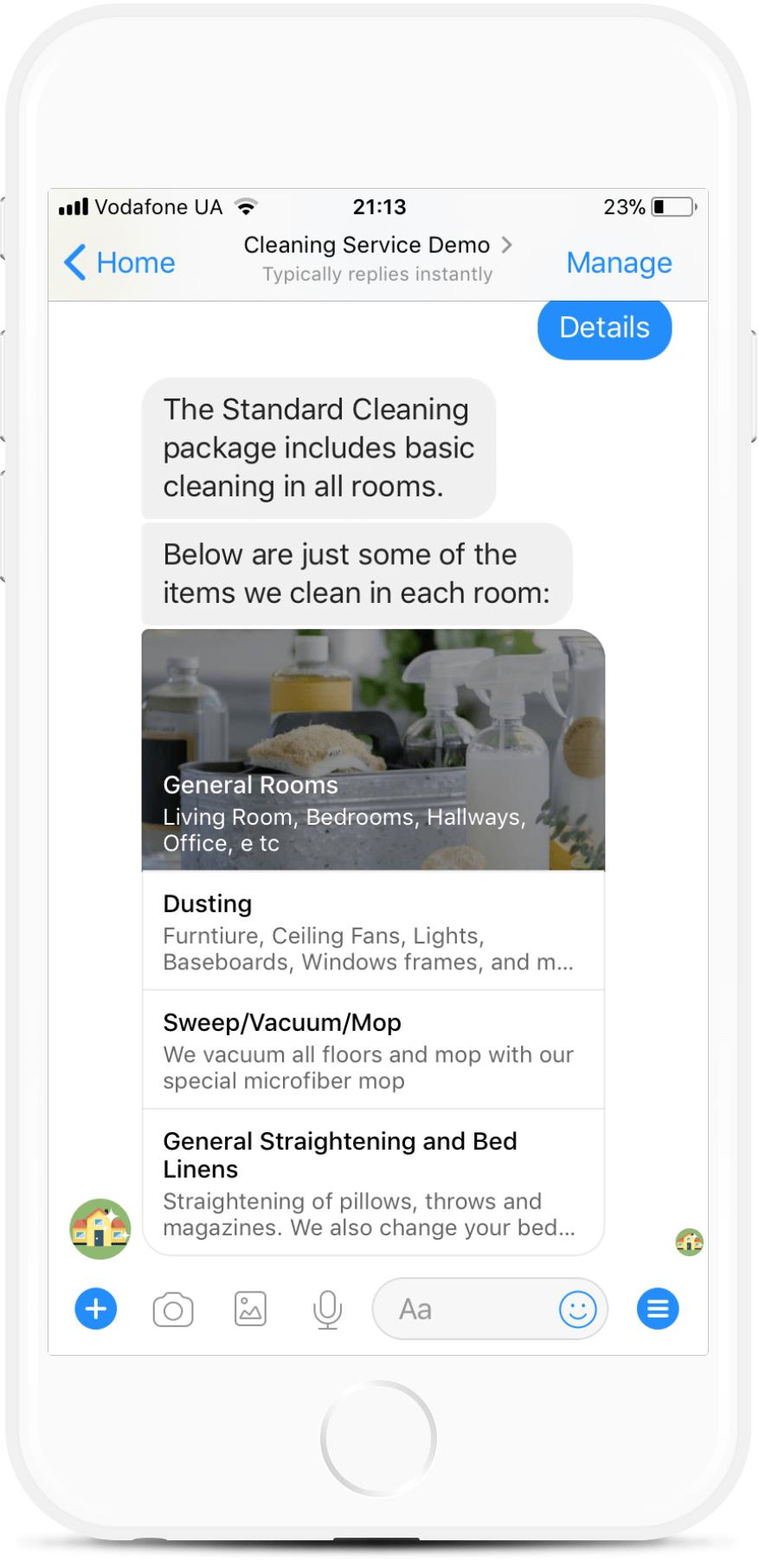 Messenger Chatbot Template for Cleaning Service for $49   #messenger #bottemplates #bots #chatbots #aibots #fbmessenger #botmakers