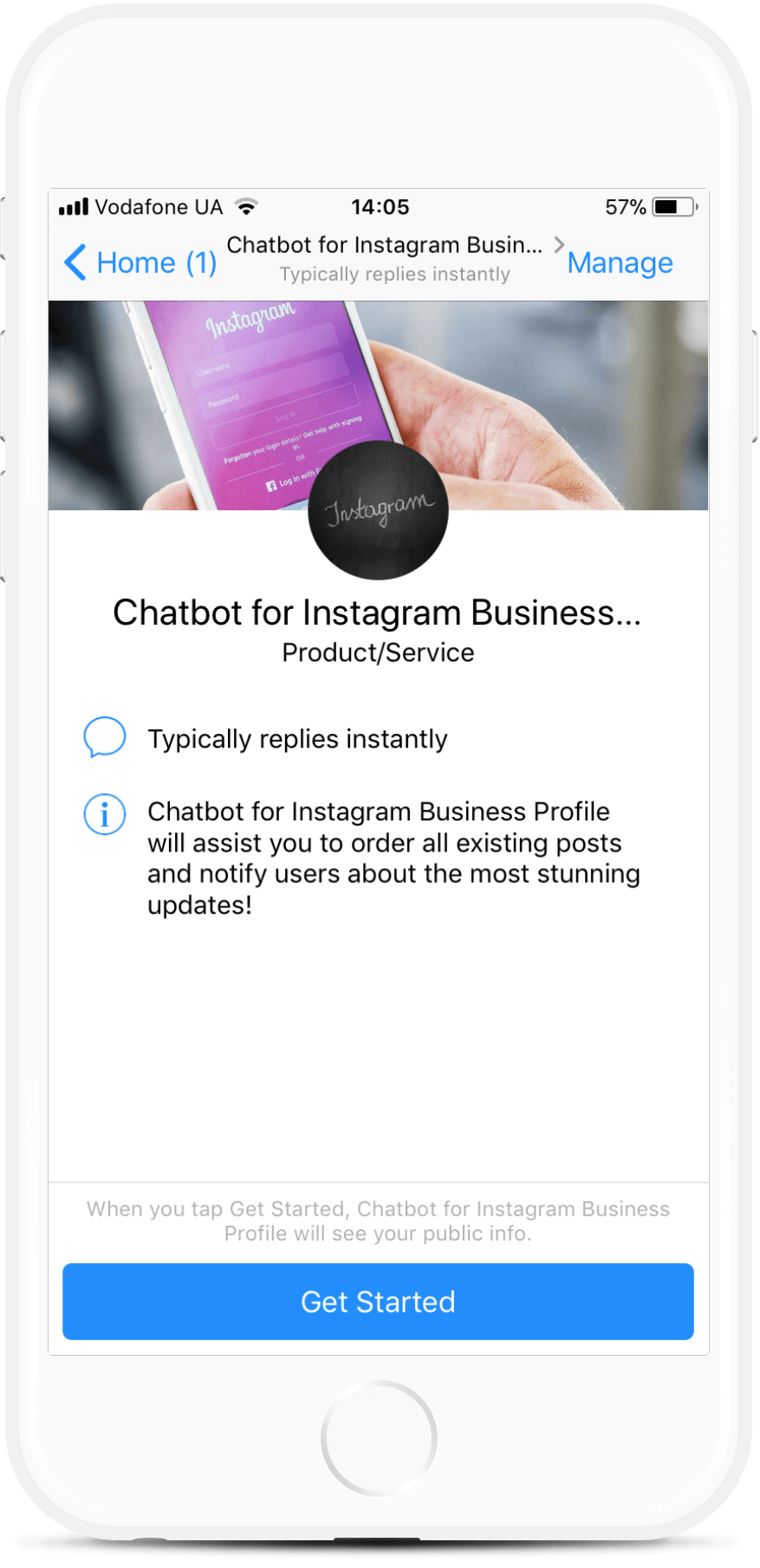 Instagram business profile bot template for messenger for 169 chatbot for instagram business profile bot screenshot fbccfo Choice Image