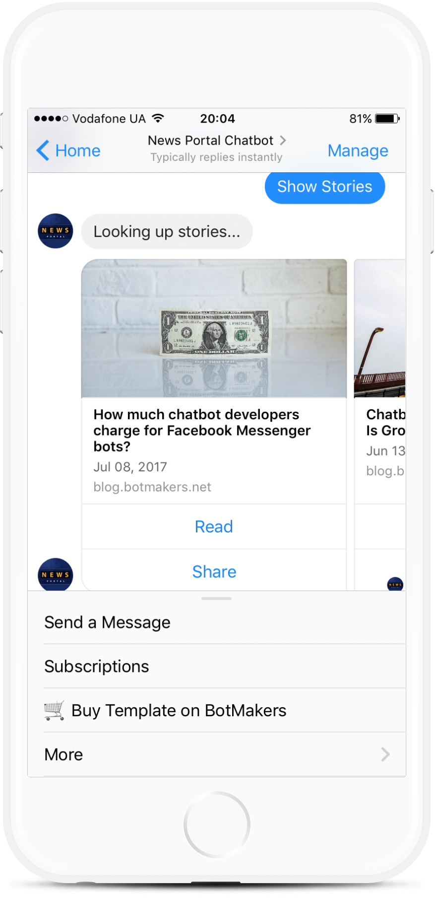 News and Publications Bot Template for Messenger for $69   #messenger #bottemplates #bots #chatbots #aibots #fbmessenger #botmakers