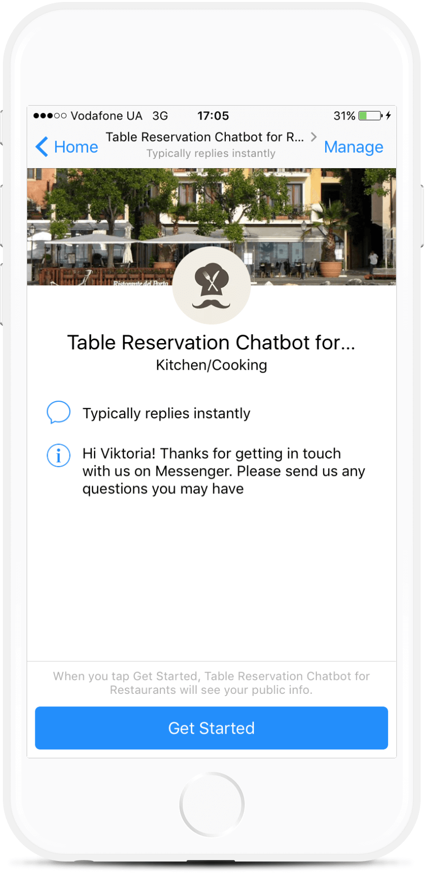 Restaurant Table Reservation Chatbot for Facebook Messenger