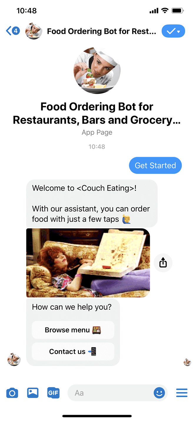Food Ordering and Delivery Messenger bot screenshot