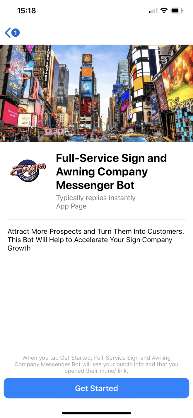 Full-Service Sign and Awning Company bot screenshot