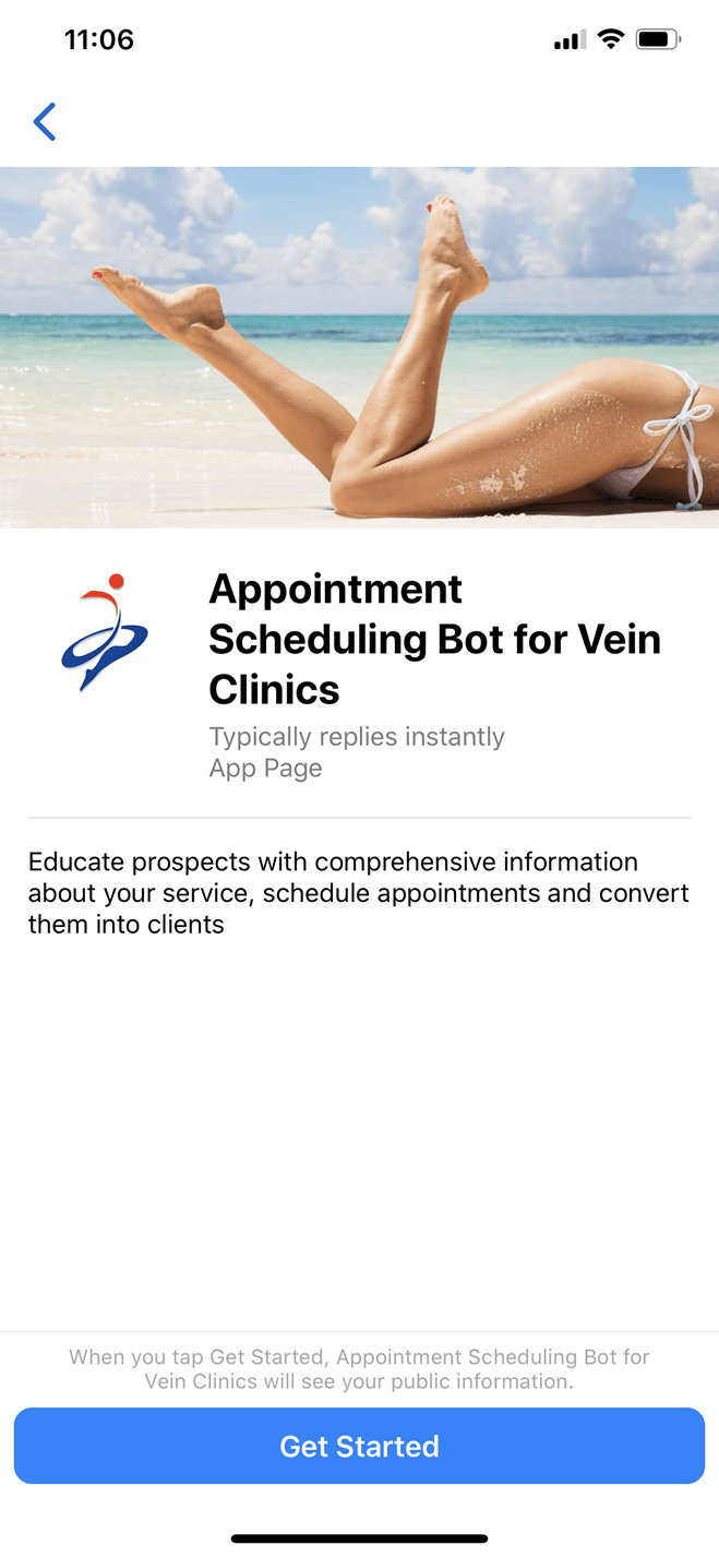 Vein clinic bot screenshot
