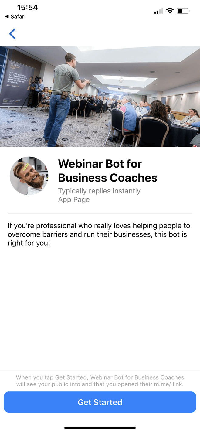 Bot per Webinar per Business Coach