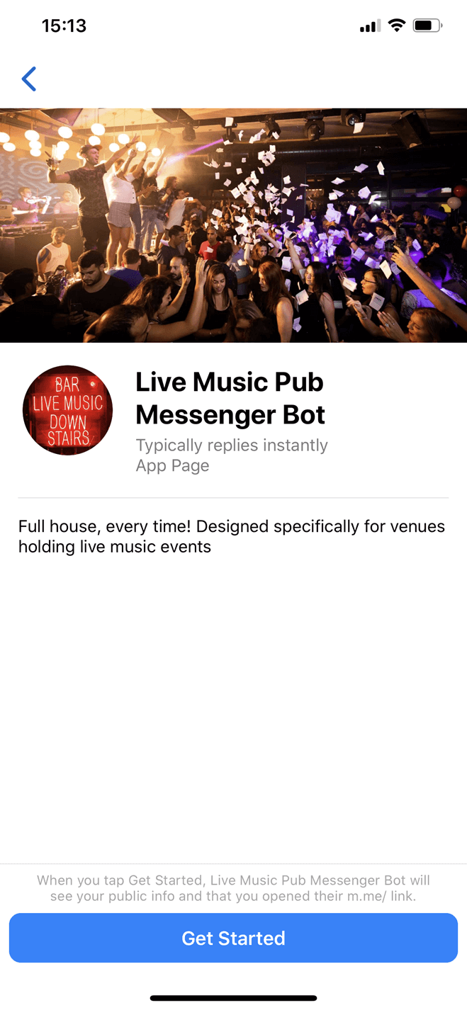 Live Music Pub and Bar Messenger bot screenshot