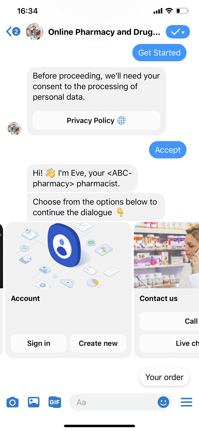 Online pharmacy and drugstore Messenger bot screenshot