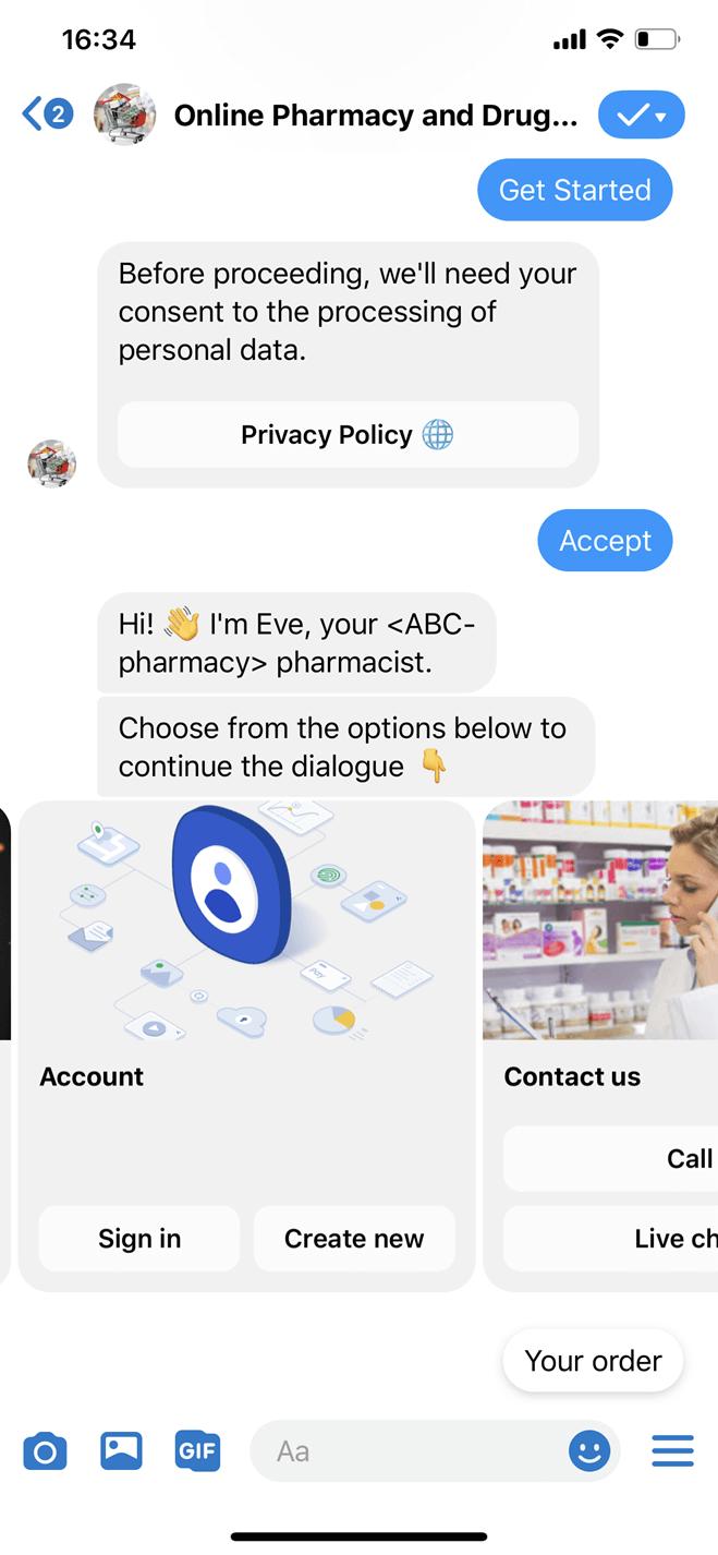 Bot Messenger per farmacie e parafarmacie online