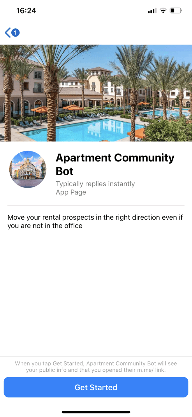 Apartment Community Messenger bot screenshot