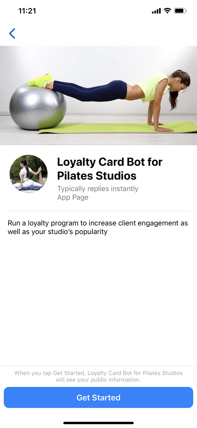 Bot de carte de fidélité pour les studios de Pilates