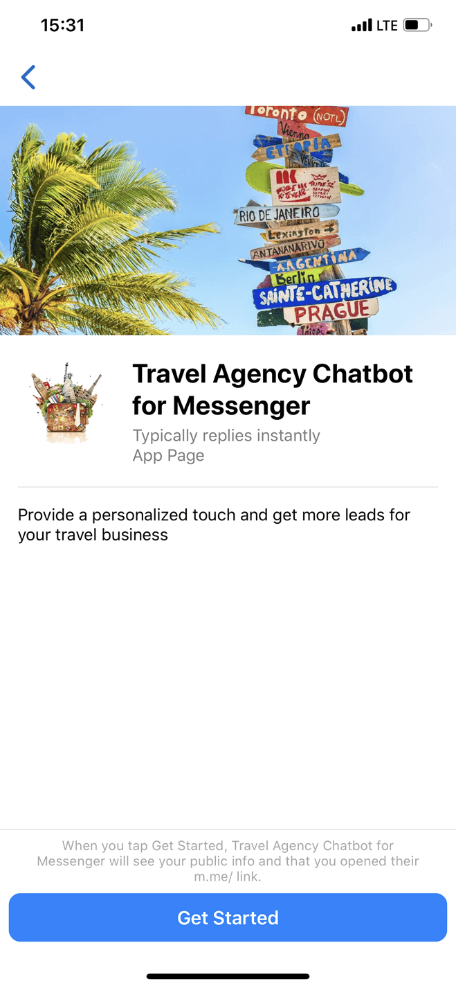 Travel Agency bot screenshot