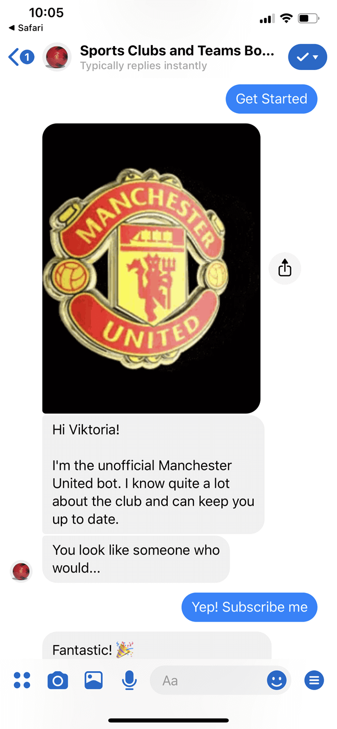 Sports Clubs and Teams Messenger bot screenshot
