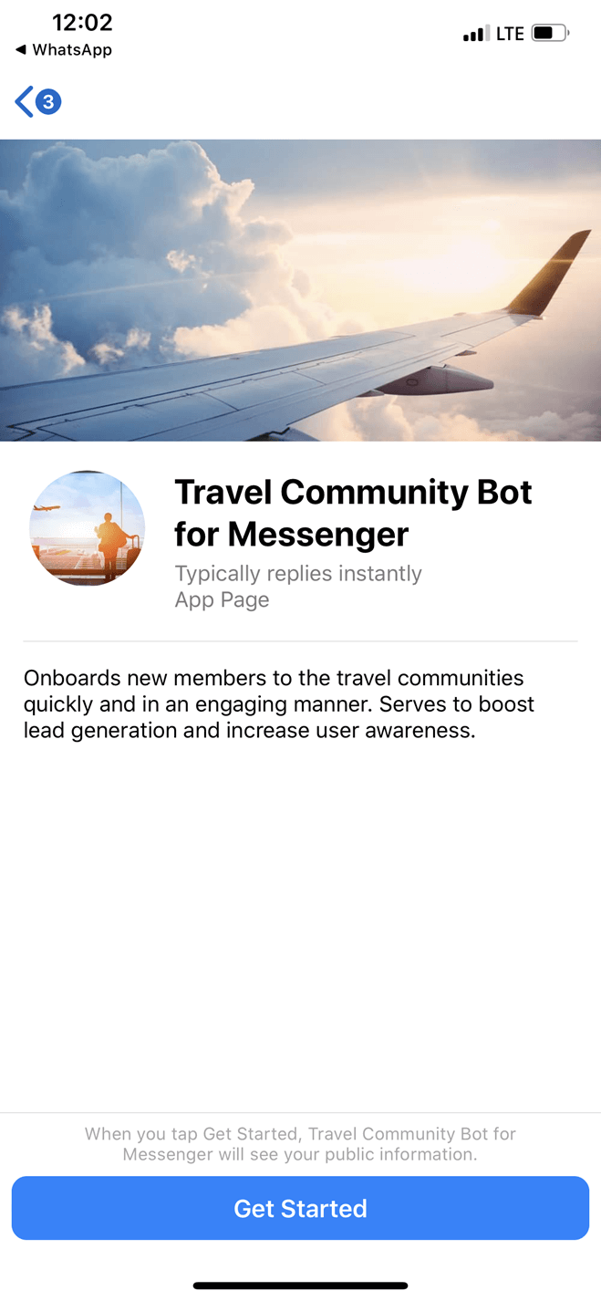 Travel community bot screenshot