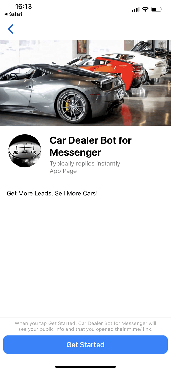 Car Dealer Messenger bot screenshot