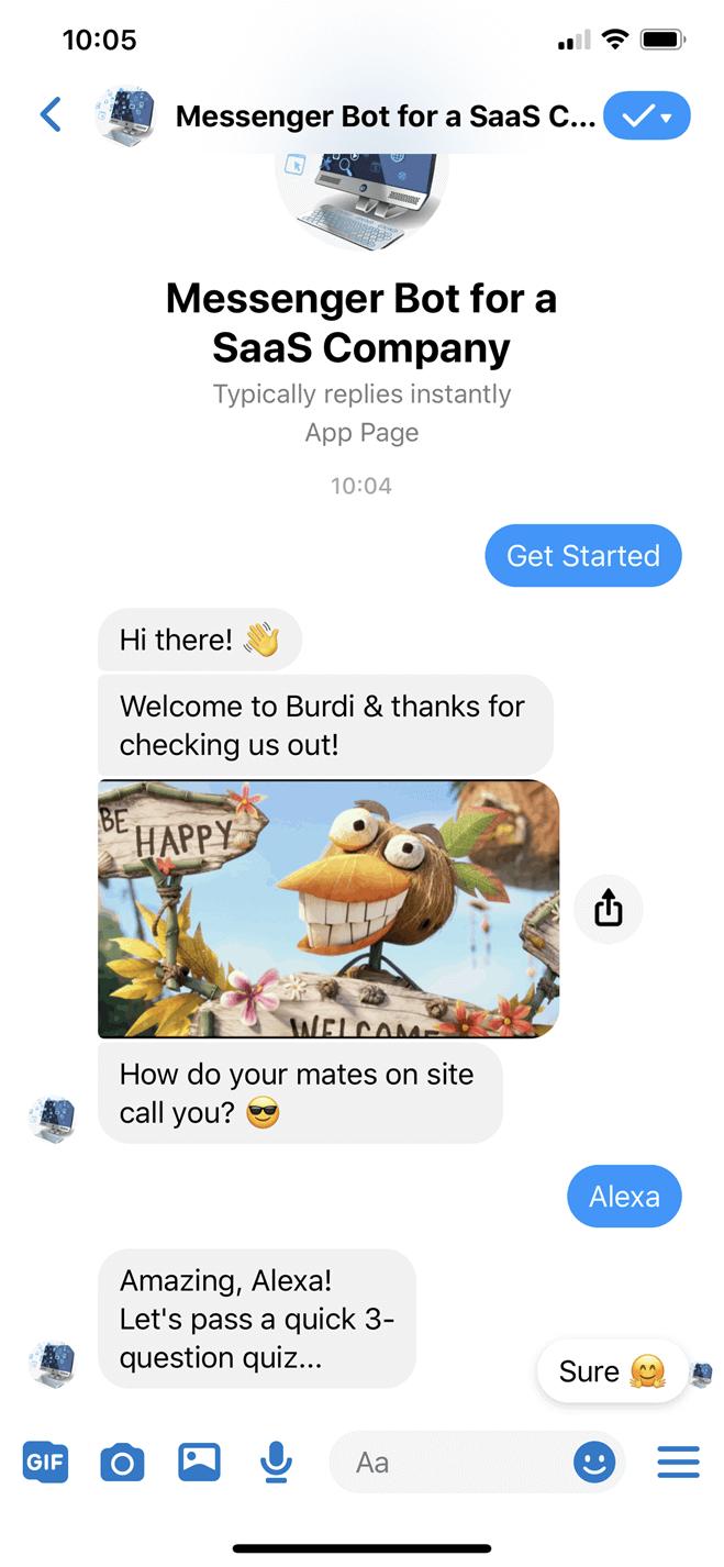 SaaS company bot screenshot