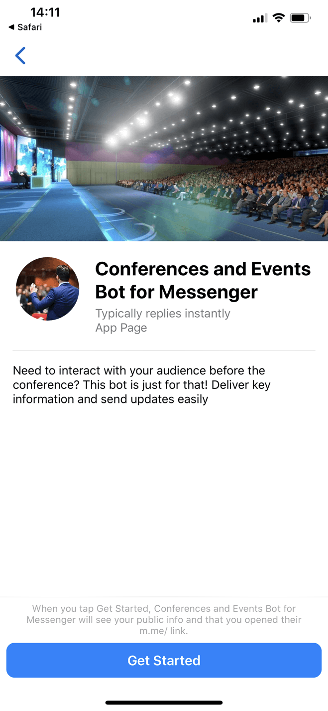 Bot per conferenze per Facebook Messenger