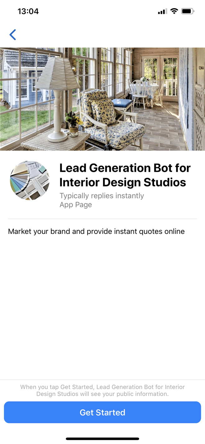 Interior Design Studio Messenger bot screenshot