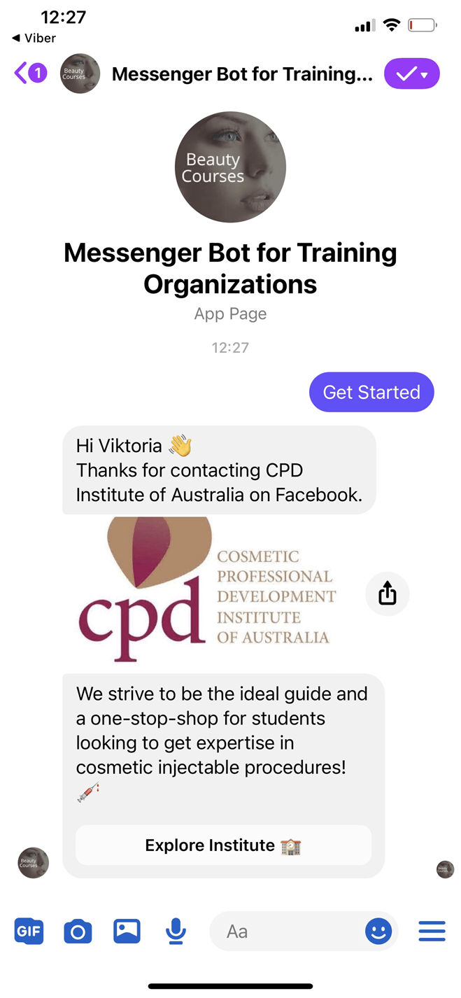 Messenger Bot for Training Organizations