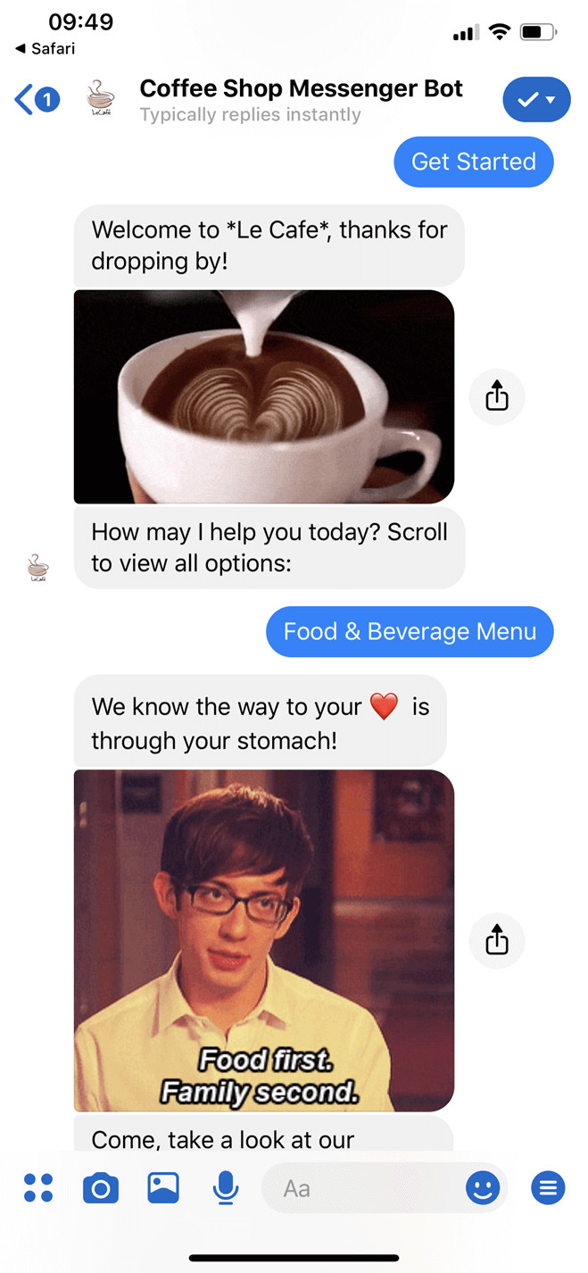 Coffee Shop Messenger Bot