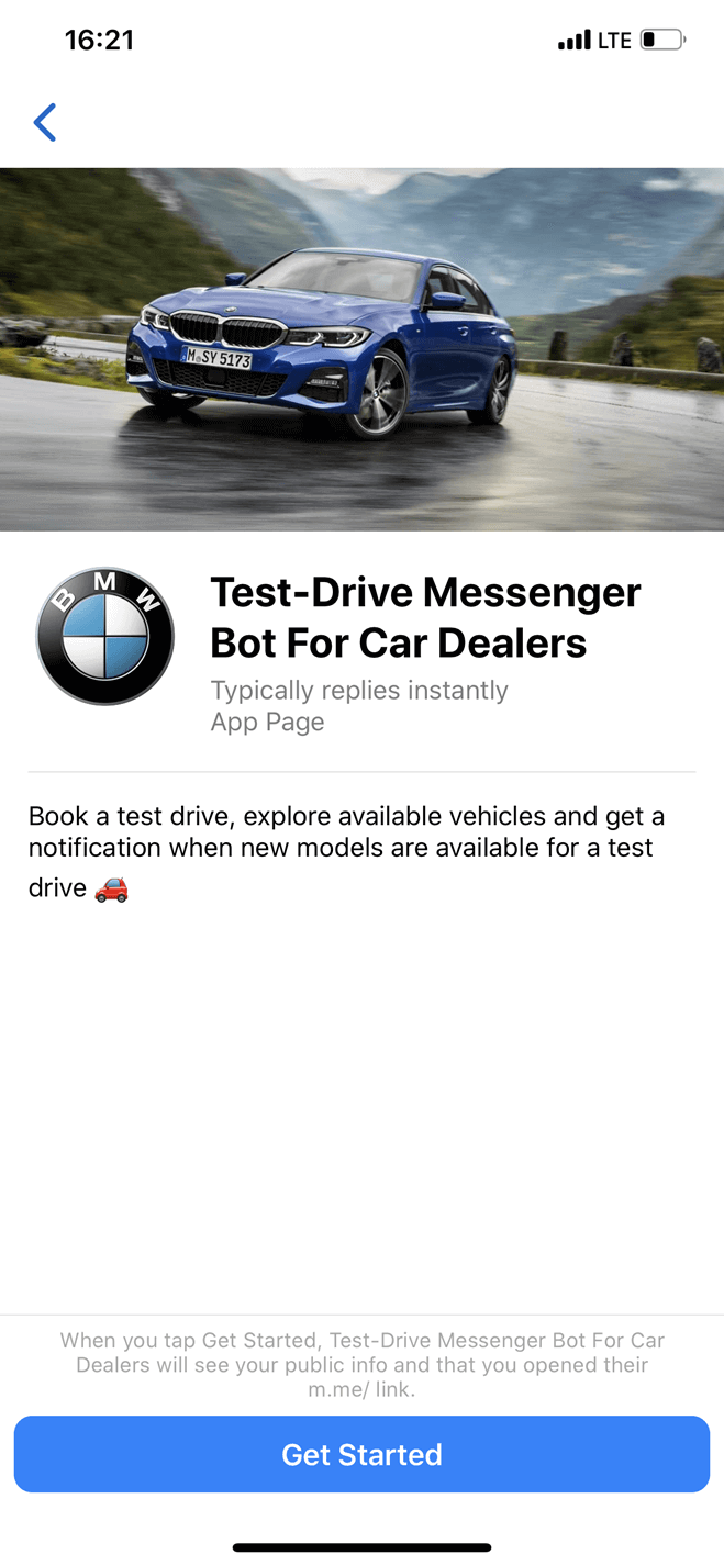 Bot de test drive para concessionárias no Messenger