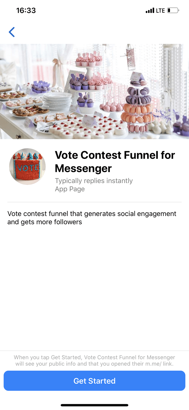 Vote Contest Messenger bot screenshot