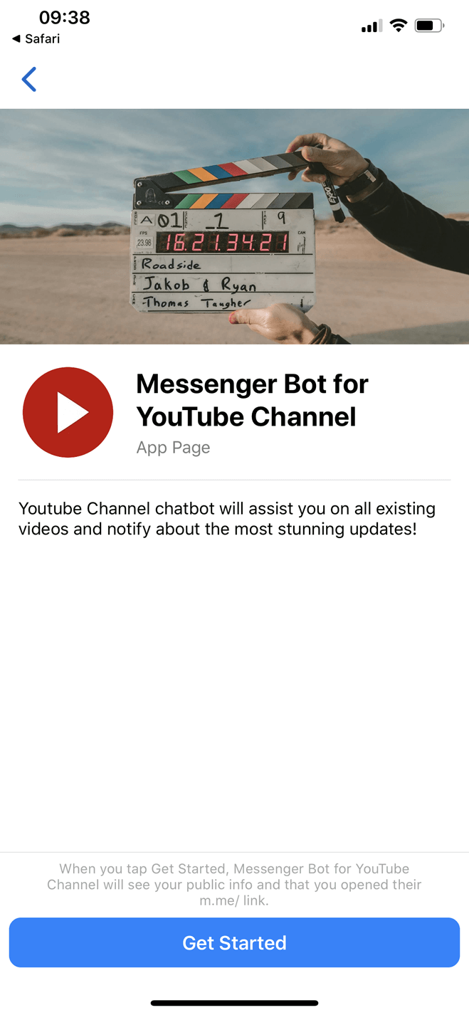 Youtube channel Messenger bot screenshot