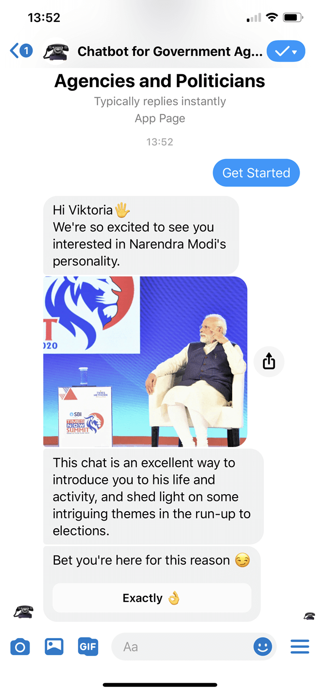 Politician Messenger bot screenshot