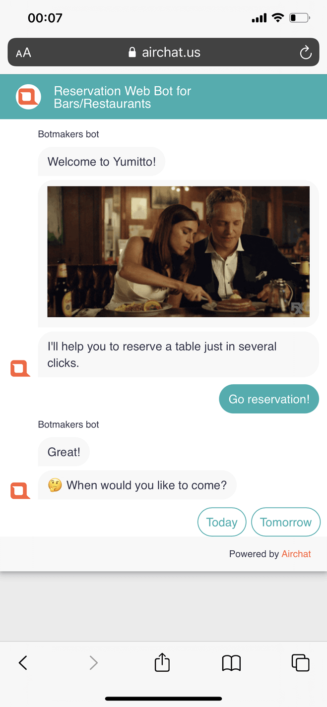 Reservation Web Bot for Bars/Restaurants