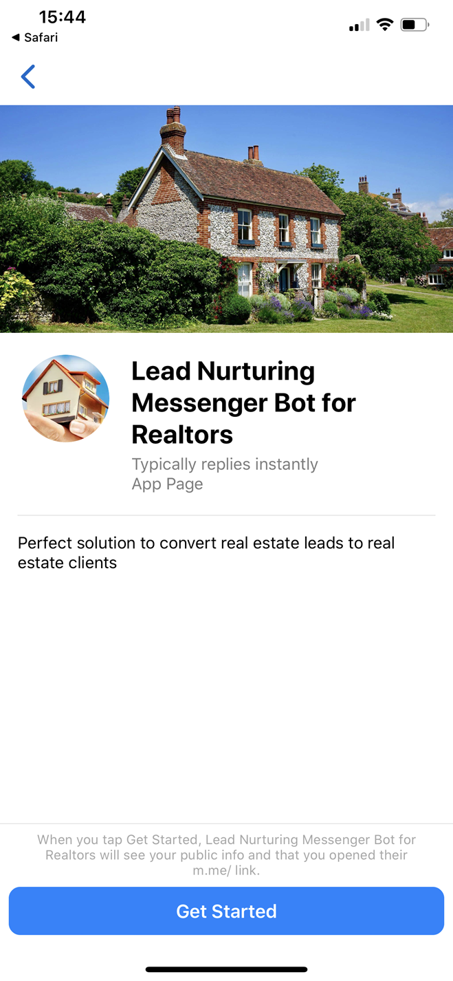 Lead Nurturing Messenger Messenger bot screenshot