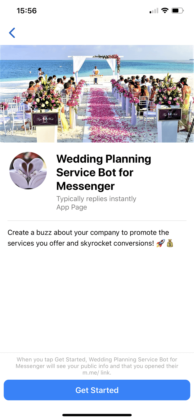 Wedding Planning Service Bot for Messenger