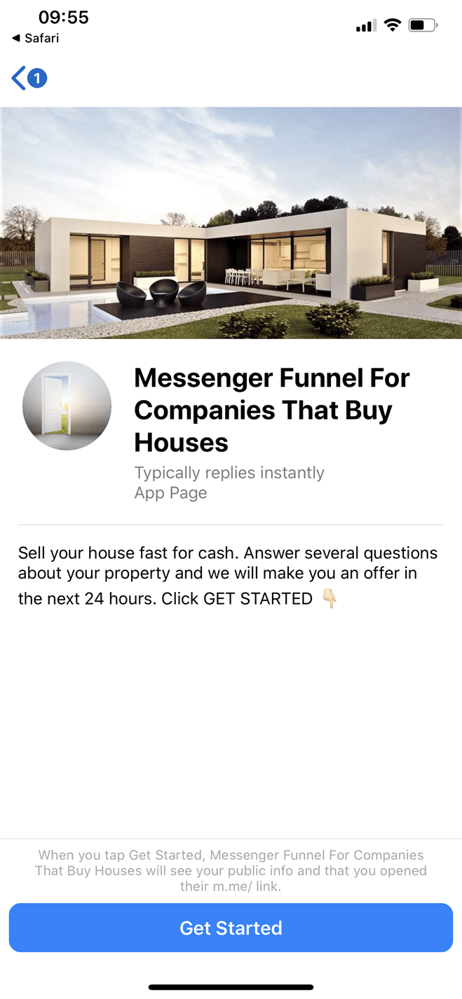 Messenger Funnel For Companies That Buy Houses bot screenshot