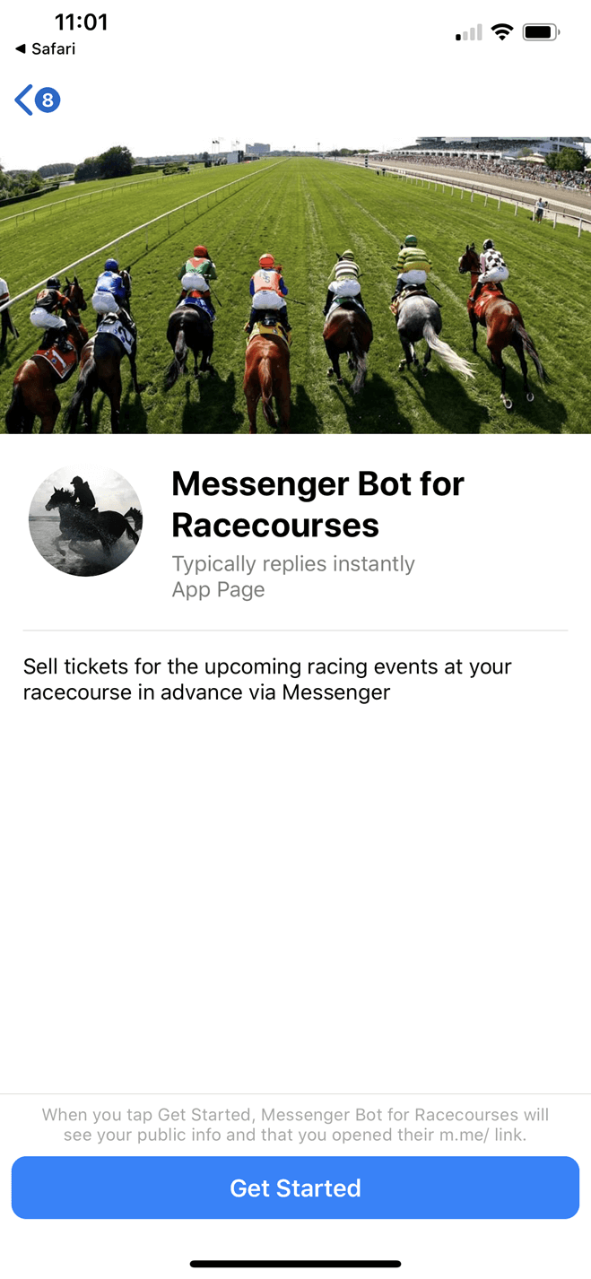 Messenger Bot for Racecourses