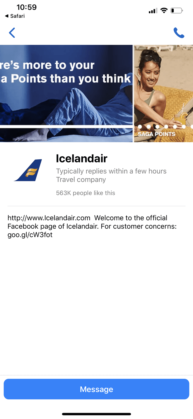 Icelandair bot screenshot