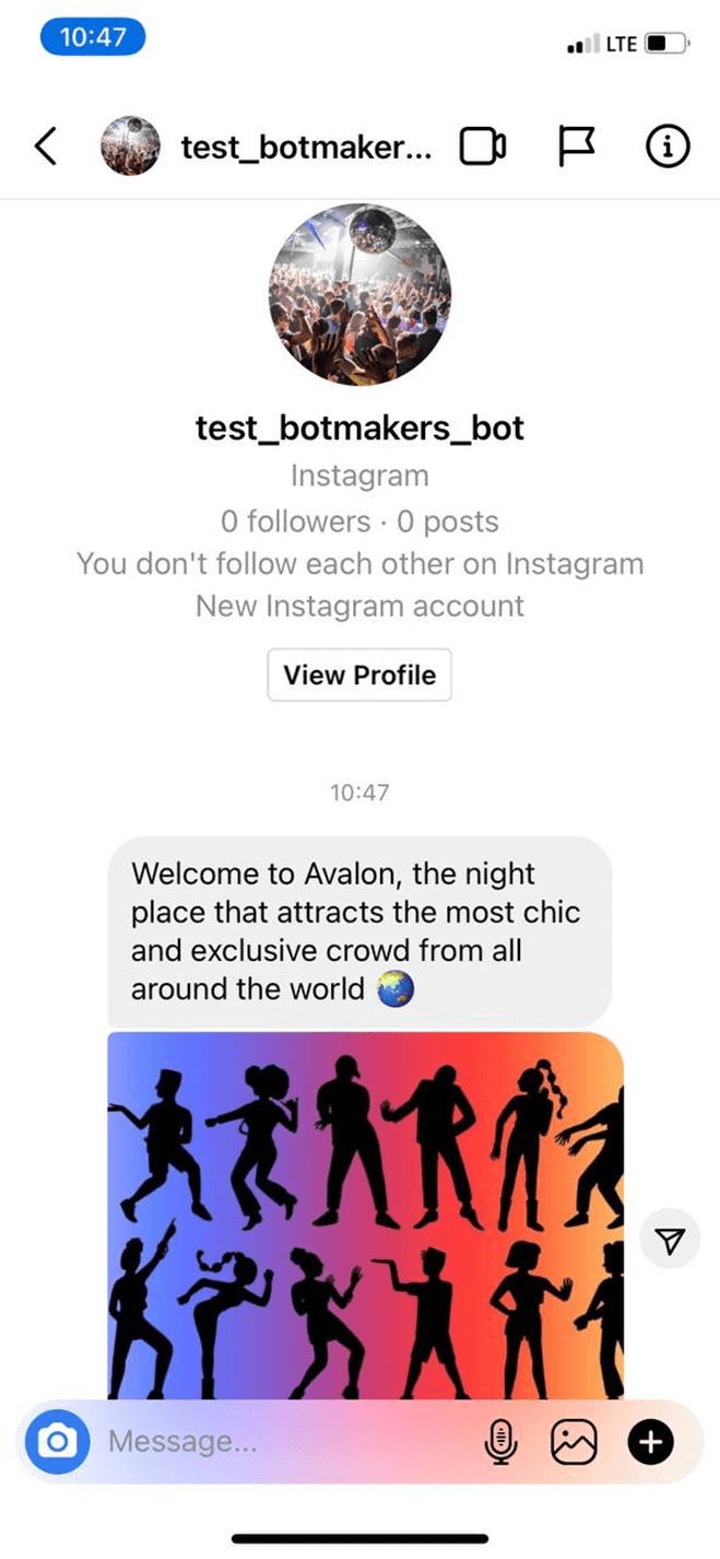 Nightclub bot screenshot