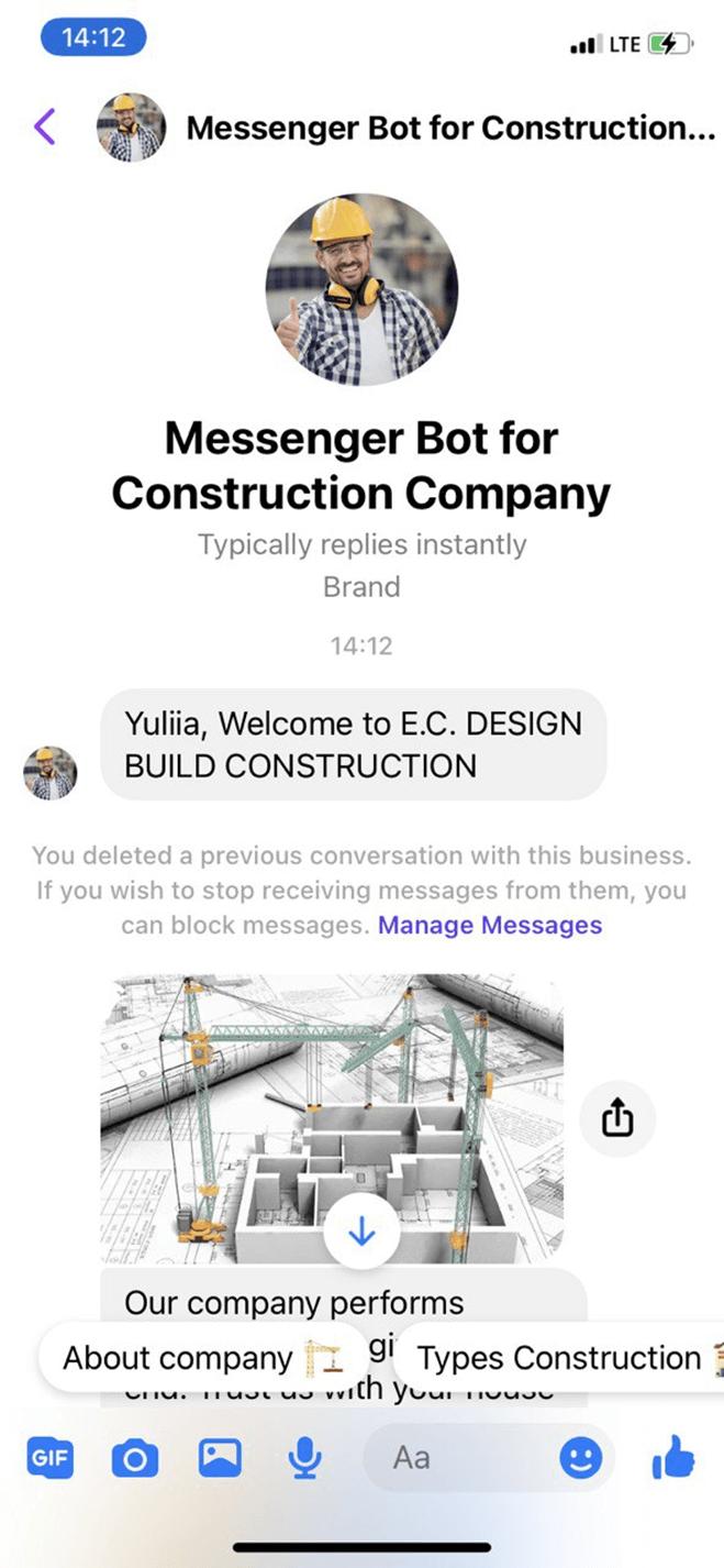 Construction Company bot screenshot