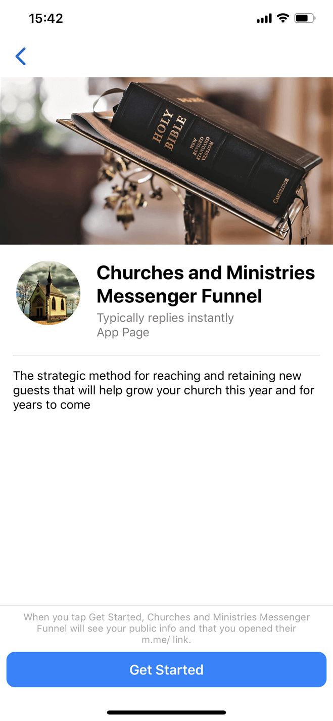 Churches and Ministries Messenger Funnel Messenger bot screenshot