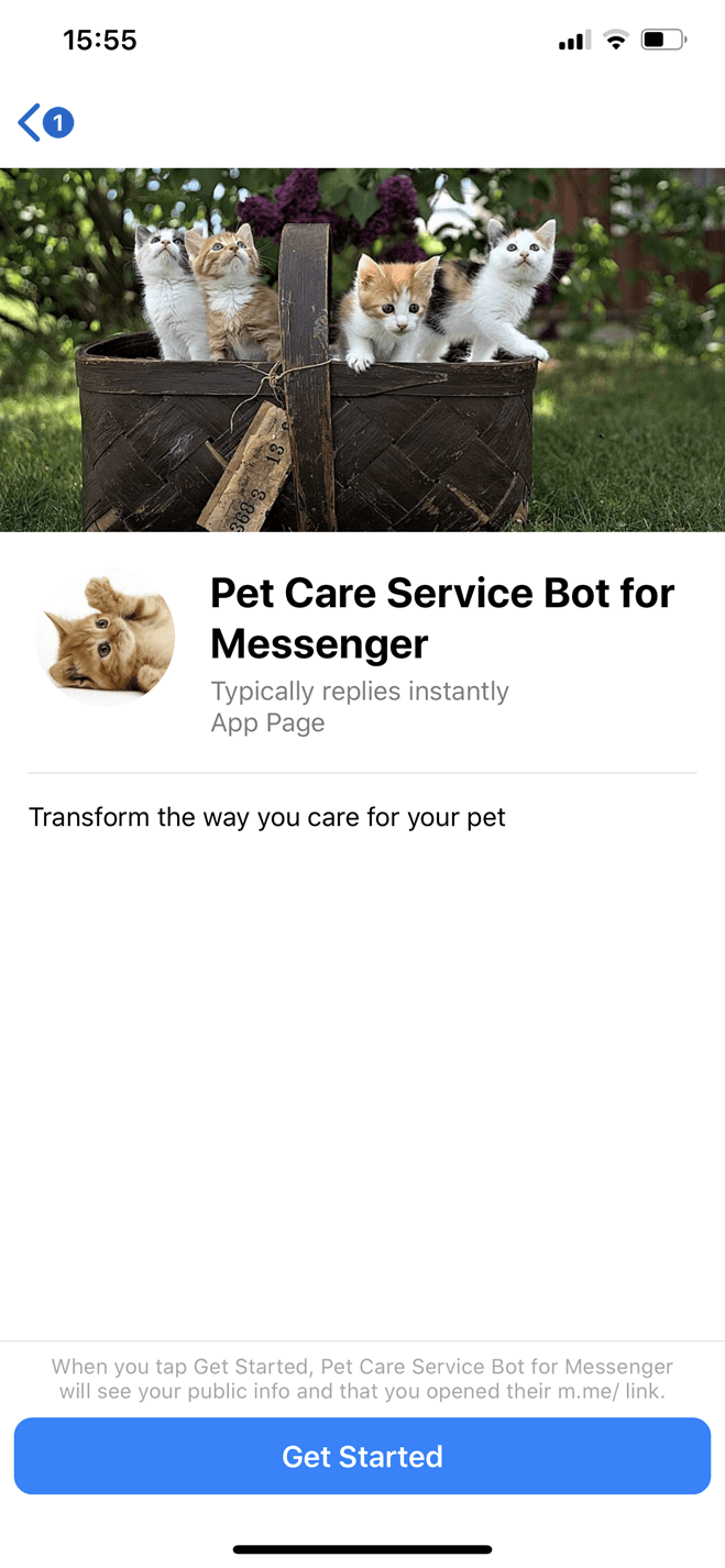 Pet Care Service Messenger bot screenshot