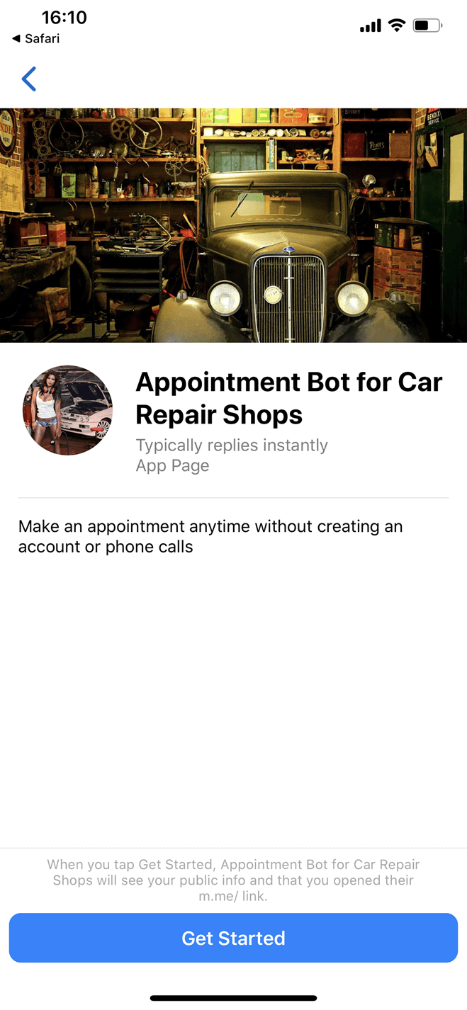 Automotive Repair Shop bot screenshot