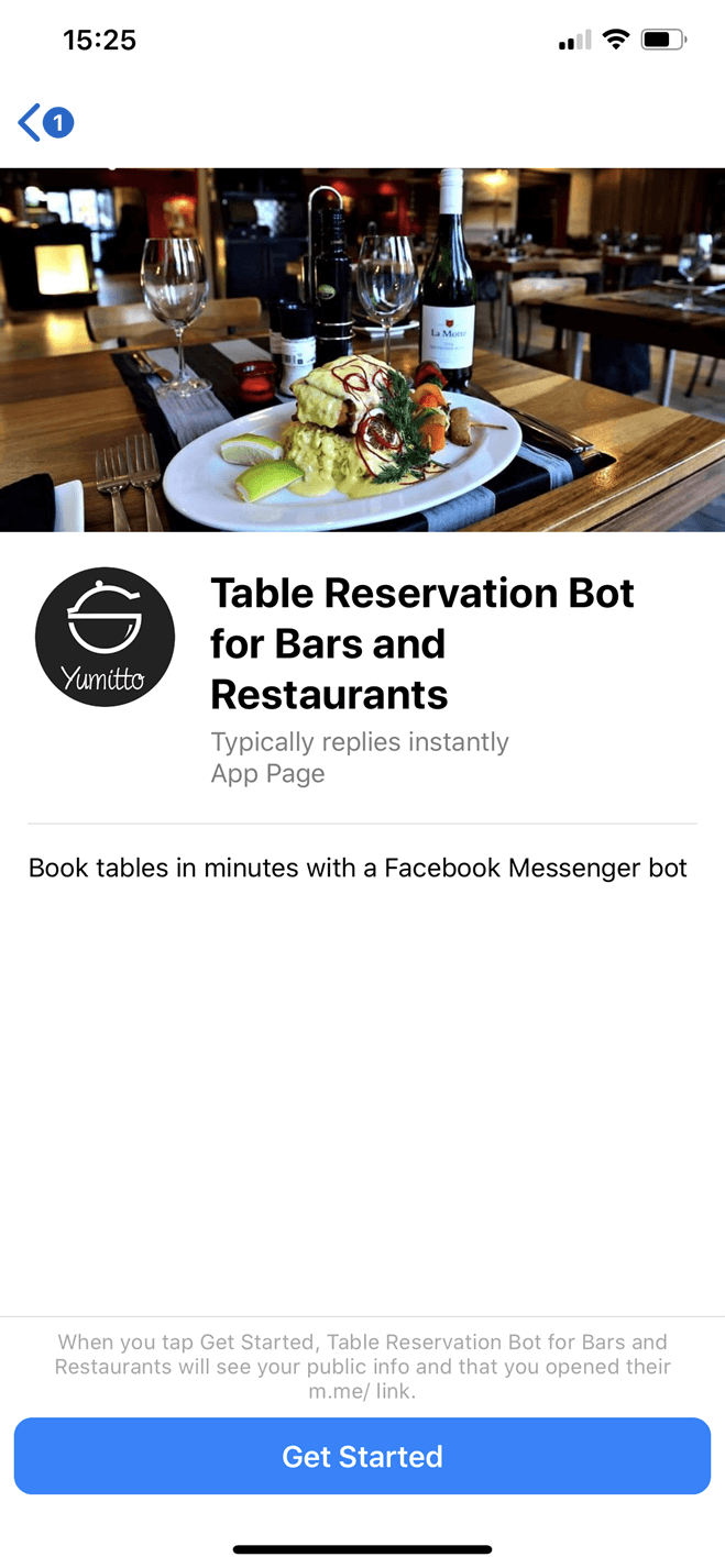Restaurant table reservation  Messenger bot screenshot